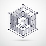 Vector of modern abstract cubic lattice black and white background. Layout of cubes, hexagons, squares, rectangles and. Vector of modern abstract cubic lattice royalty free illustration
