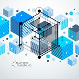 Vector of modern abstract cubic lattice lines blue background. L. Ayout of cubes, hexagons, squares, rectangles and different abstract elements. Abstract Royalty Free Stock Photography