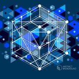 Vector of modern abstract cubic lattice lines blue black backgro. Und. Layout of cubes, hexagons, squares, rectangles and different abstract elements. Abstract Stock Image