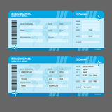 Vector Modern Airline boarding pass tickets. Vector Blue Modern Airline boarding pass tickets isolated on white Stock Image
