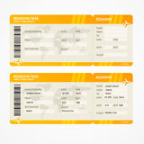 Vector Modern Airline boarding pass tickets. Vector Orange Modern Airline boarding pass tickets isolated on white Stock Photography