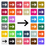 Vector modern Arrow flat design icon set in button Royalty Free Stock Images