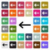 Vector modern Arrow flat design icon set in button.  Stock Photography