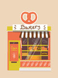 Vector modern bakery shop. Detailed facade background in flat style, with big bagel sticker Stock Photography