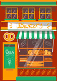 Vector modern bakery shop detailed facade. Background in flat style, with big bagel sticker Stock Photography