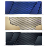 Vector modern banners set with carbon texture Stock Image