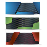 Vector modern banners set with carbon texture Royalty Free Stock Image