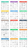 Vector modern big flat outline icons set on white. Background Royalty Free Stock Photos