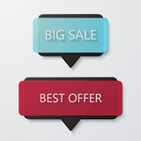 Vector modern big sale and best offer banners on white background. Bubble speech or like, map pointer design stock illustration