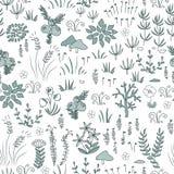 Vector modern bloemen naadloos patroon met noordelijke floraelementen Toendra, noords ontwerp vector illustratie