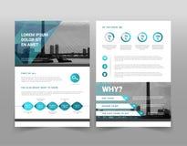 Vector modern blue geometric business brochure or leaflet infographic template stock illustration