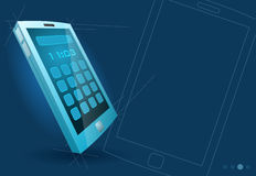 Vector modern blue touch screen device Stock Photography