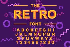 Vector of modern bold font and alphabet. Vintage Alphabet vector 80 s. 90 s Old style graphic set. Retro Chiseled Alphabet Vector Font. Type letters, numbers vector illustration