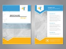 Vector modern brochure, abstract flyer with technology background. Layout template. Aspect Ratio for A4 size. Poster of blue, yell. Ow and white color. Magazine Stock Photography