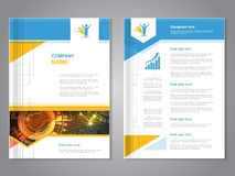 Vector modern brochure with arrow design, abstract flyer with technology background. Layout template. Poster of blue, yellow, red Royalty Free Stock Photos