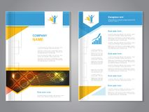 Vector modern brochure with globe design, abstract flyer with technology background. Layout template. Poster of blue, yellow, red Royalty Free Stock Image