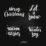 Vector Modern Brushpen Calligraphy, Merry Christmas. Let it snow. Warm wishes. Winter Joy. Lettering Stock Images