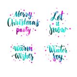 Vector Modern Brushpen Calligraphy, Merry Christmas. Let it snow. Warm wishes. Winter Joy. Lettering Royalty Free Stock Image