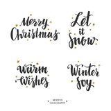 Vector Modern Brushpen Calligraphy, Merry Christmas. Let it snow. Warm wishes. Winter Joy. Lettering Royalty Free Stock Photo