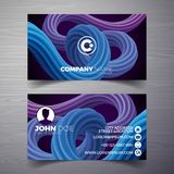 Vector modern business card design template with abstract backgound. Corporate identity illustration with simple logo. Vector modern business card design royalty free illustration