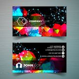 Vector modern business card design template with abstract backgound. Corporate identity illustration with simple logo. Vector modern business card design stock illustration