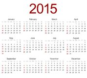 Vector modern 2015 calendar on white Royalty Free Stock Photos
