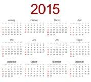 Vector modern 2015 calendar on white Royalty Free Stock Photos