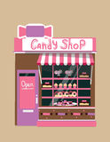 Vector modern candy shop. Detailed facade background in flat style, with big sweet sticker Royalty Free Stock Image