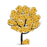Vector modern cheese tree on white Stock Photo