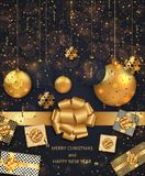 Vector modern Christmas or 2018 Happy New Year winter holiday invitation card Fotografia Stock Libera da Diritti