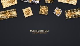 Vector modern Christmas or 2018 Happy New Year winter holiday invitation card background. Gift box postcard. Stock Photo