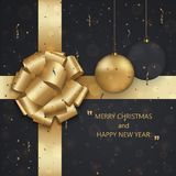 Vector modern Christmas or 2018 Happy New Year winter holiday invitation card background. Gift box postcard Stock Photo