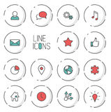 Vector Modern circle thin line icon collection Royalty Free Stock Images