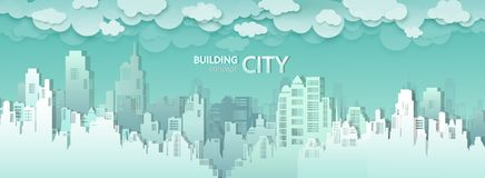 Vector modern city buildings skyline of downtown. City skyscraper vector illustration background, Urban landscape panorama view cityscape, Business offices royalty free illustration