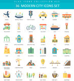 Vector Modern City color flat icon set. Elegant style design. royalty free illustration