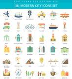 Vector Modern City color flat icon set. Elegant style design. Royalty Free Stock Image