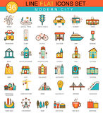 Vector modern city flat line icon set. Modern elegant style design  for web. Stock Photo