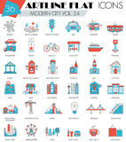 Vector Modern city ultra modern outline artline flat line icons for web and apps. Royalty Free Stock Photos