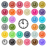 Vector modern Clock flat design icon set in button Stock Image