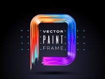 Vector modern colorful flow frame. Fluid acrylic paint or color brushstroke oil design element in the form of royalty free illustration