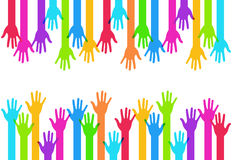 Vector modern colorful hands background. Creative template Royalty Free Stock Image
