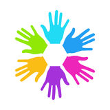 Vector modern colorful hands background Stock Image
