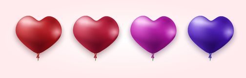 Vector modern colorful heart balloons set. With ribbon on light background Stock Photography