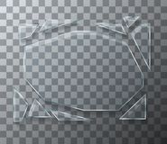 Vector modern concept broken glass on transparent background. Royalty Free Stock Images
