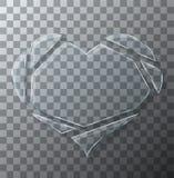 Vector modern concept broken heart glass on transparent background. Stock Image