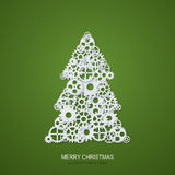 Vector modern concept christmas tree and mechanism gears background. Invitation of xmas or happy new year. Royalty Free Stock Image