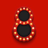 Vector modern concept retro billboard and 8 march icon on red background Royalty Free Stock Photo