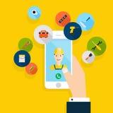 Vector modern creatief vlak ontwerp die op hand mobiele telefoon houden Royalty-vrije Stock Afbeeldingen