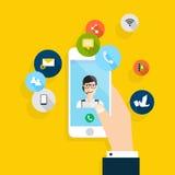 Vector modern creatief vlak ontwerp die op hand mobiele telefoon houden Royalty-vrije Stock Foto