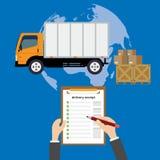 Vector modern creatief vlak stijlconceptontwerp bij de leveringsdienst die wereldwijd bol, kartondozen, ladingsvrachtwagen en h k Stock Foto